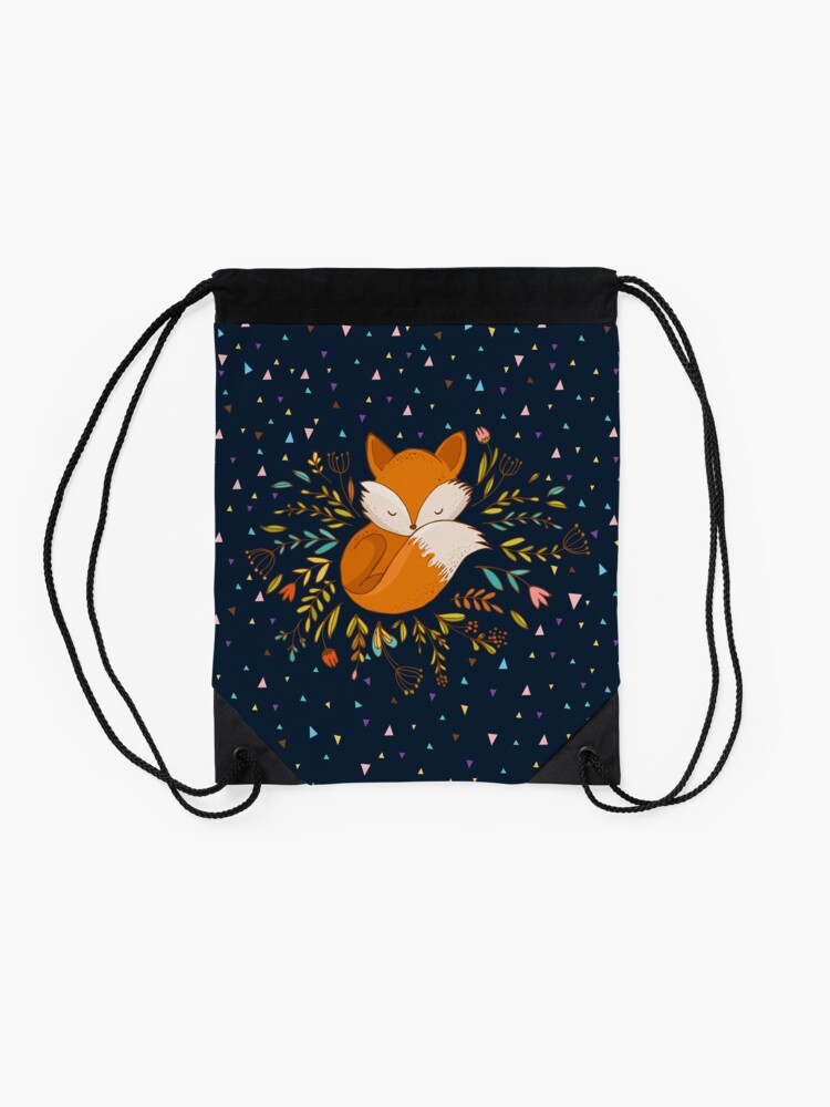 Alternate view of Cute Fox Flowers and Triangles Drawstring Bag