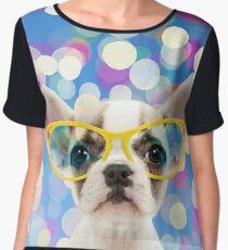 Cute French Bulldog puppy wearing giant glasses Women's Chiffon Top