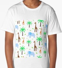 Giraffe and elephant in the savanna Long T-Shirt