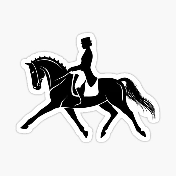 Detailed silhouette of a dressage horse performing extended trot Sticker