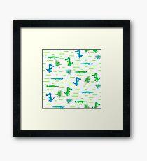 Green and blue crocodiles pattern Framed Print