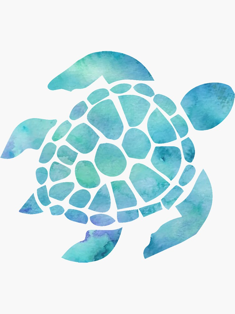 Sea Turtle Watercolor Blue by livpaigedesigns