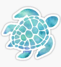Sea Turtle Watercolor Blue Sticker