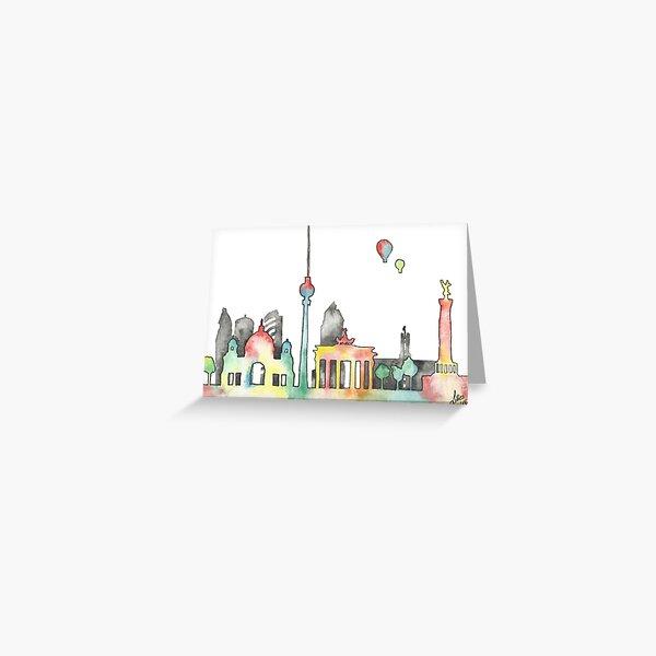 Berliner Skyline in bunten Wasserfarben Grußkarte