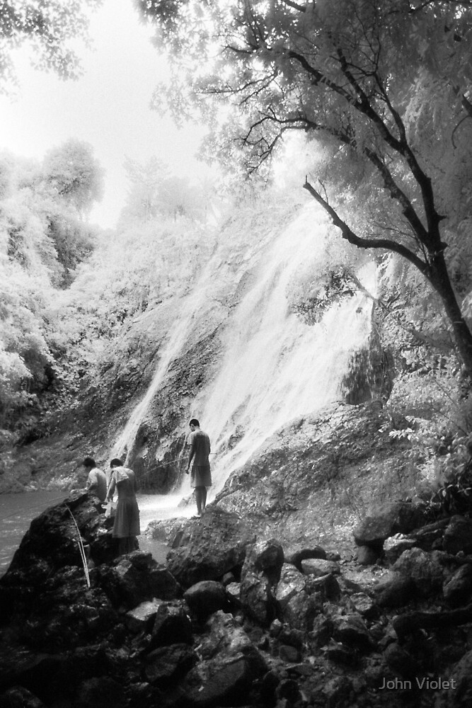 Fishing at the Waterfall by John Violet