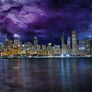 Spacey Chicago Skyline by FrankieCat