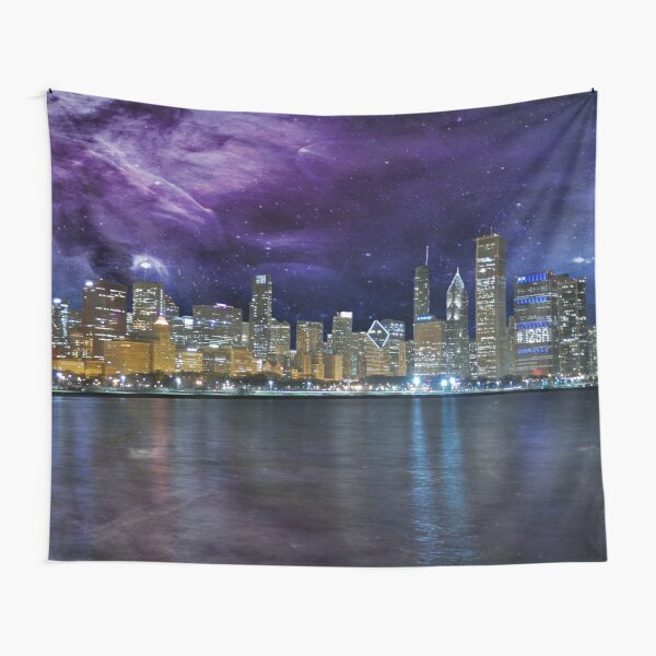 Spacey Chicago Skyline Tapestry