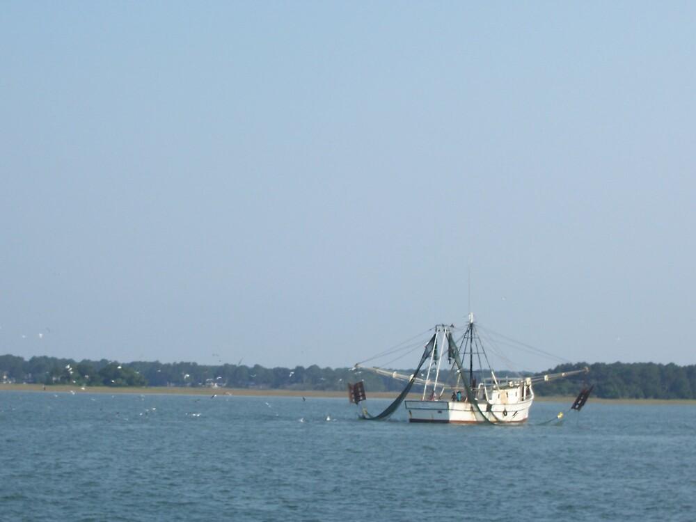 Calibogue Sound fishing boat by jmasbury