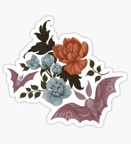 Botanical - moths and night flowers Sticker