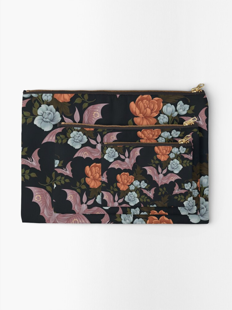 Alternate view of Botanical - moths and night flowers Zipper Pouch