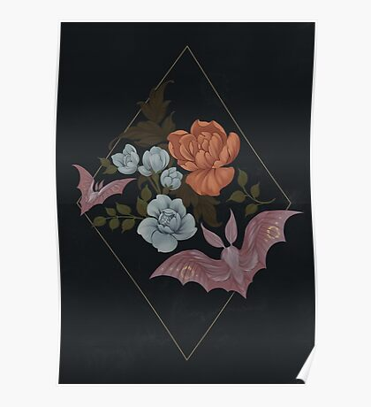 Botanical - moths and night flowers Poster