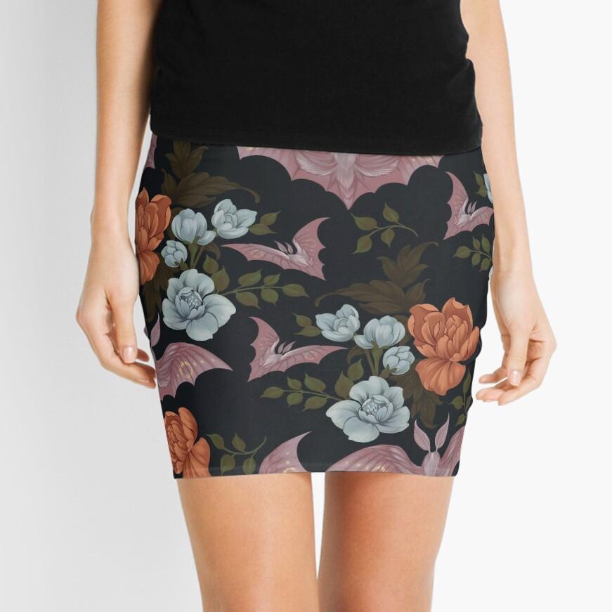 Botanical - moths and night flowers Mini Skirt