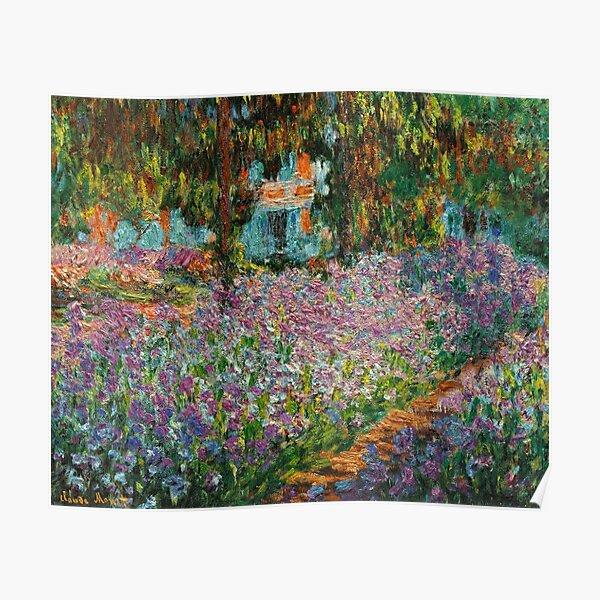 Iris en el jardín de Monet en Giverny por Claude Monet Póster