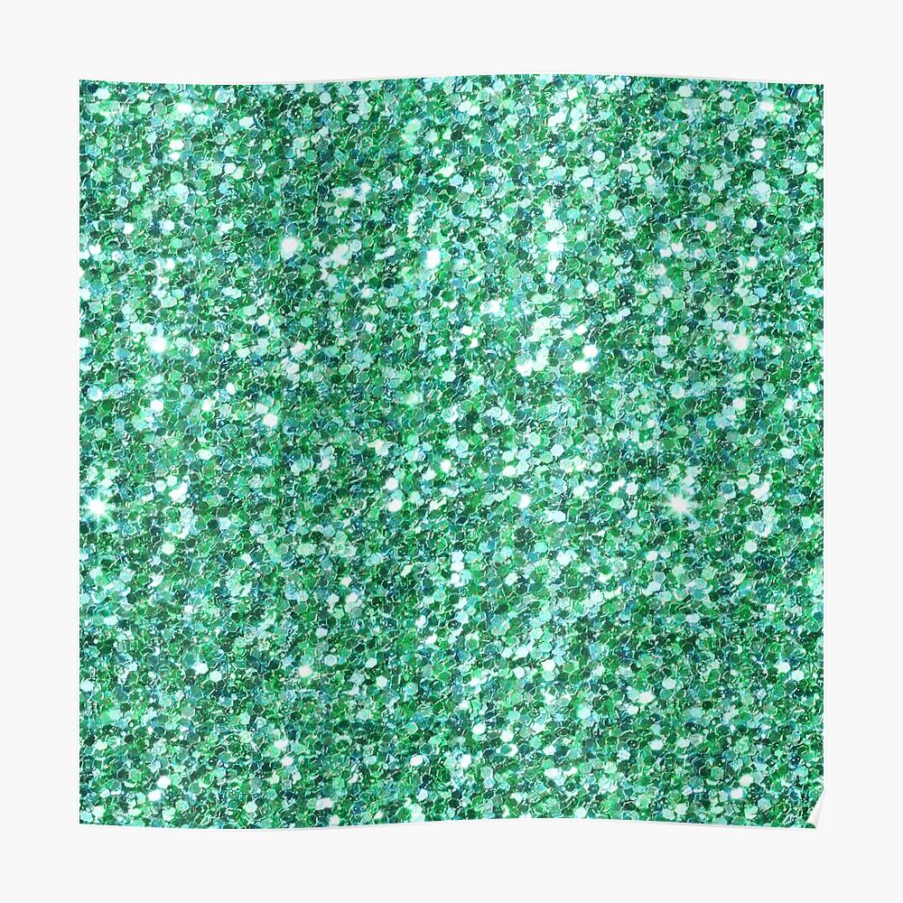Grüner Glitter und Sparkles Poster