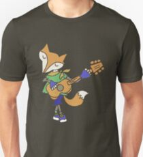Funny Cool Foxy Red Fox Playing Guitar Unisex T-Shirt