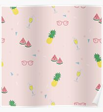 Cute tropical pattern vector illustration Poster