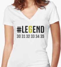 JUVENTUS #LE6END scudetto white Women's Fitted V-Neck T-Shirt