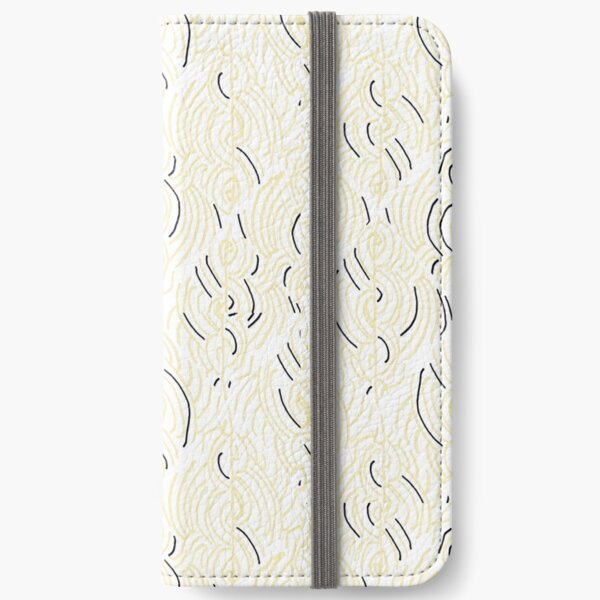 Lines and curves – black, white, cream pattern iPhone Wallet