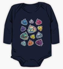 Netter Poop Emoji: Mädchen u. Jungen Regenbogen Emoji Gesichter Baby Body Langarm