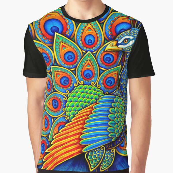 Colorful Paisley Peacock Rainbow Bird Graphic T-Shirt