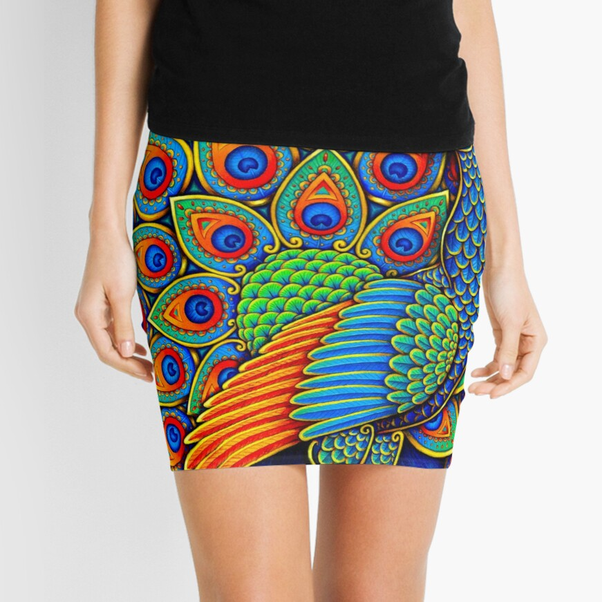 Colorful Paisley Peacock Rainbow Bird Mini Skirt