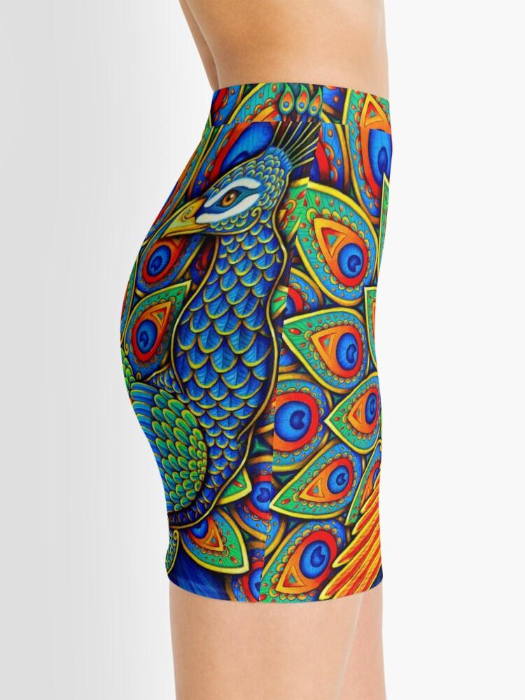 Alternate view of Colorful Paisley Peacock Rainbow Bird Mini Skirt