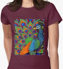 Paisley Peacock Womens Fitted T-Shirt