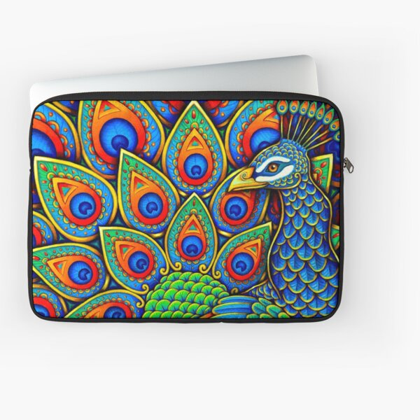 Colorful Paisley Peacock Rainbow Bird Laptop Sleeve