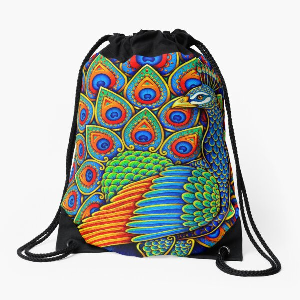 Colorful Paisley Peacock Rainbow Bird Drawstring Bag