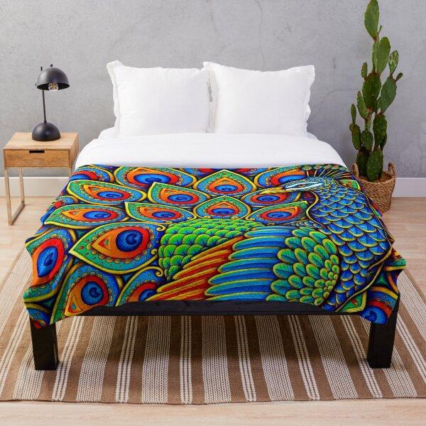 Colorful Paisley Peacock Rainbow Bird Throw Blanket