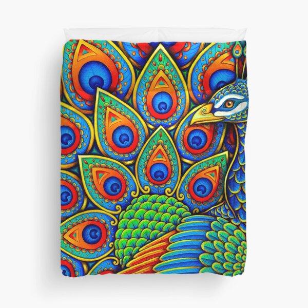 Colorful Paisley Peacock Rainbow Bird Duvet Cover