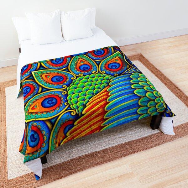 Colorful Paisley Peacock Rainbow Bird Comforter