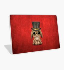 Steampunk Baby Bunny Rabbit on Red Laptop Skin