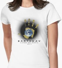 hands on earthday Womens Fitted T-Shirt