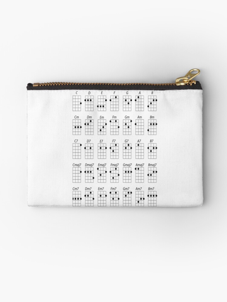 Ukulele Chords Studio Pouches By Forestkat Redbubble