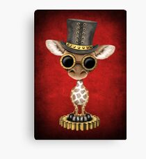 Steampunk Baby Giraffe Wearing Top Hat Canvas Print
