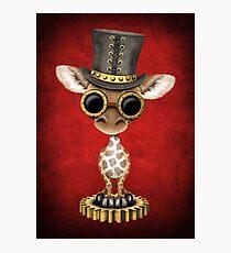 Steampunk Baby Giraffe Wearing Top Hat Photographic Print