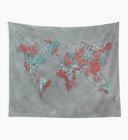 world map 84 grey Wall Tapestry