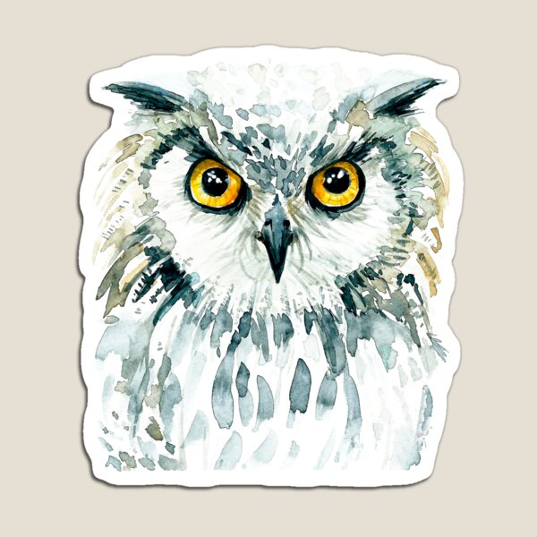 Watercolor Bubo Bubo Owl Magnet