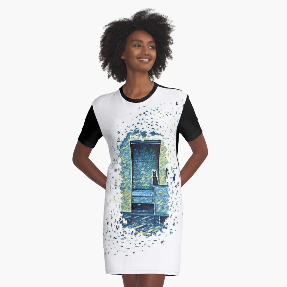Cats of Expressionism Graphic T-Shirt Dress Front