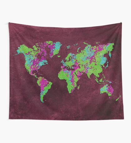 world map 85 green purple Wall Tapestry