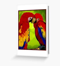 PARROT COUPLE: Vintage Romantic Print Greeting Card