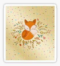 Fox Flowers Triangles Gold Sticker