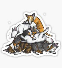 Sleeping Pile of Bull Terriers Sticker