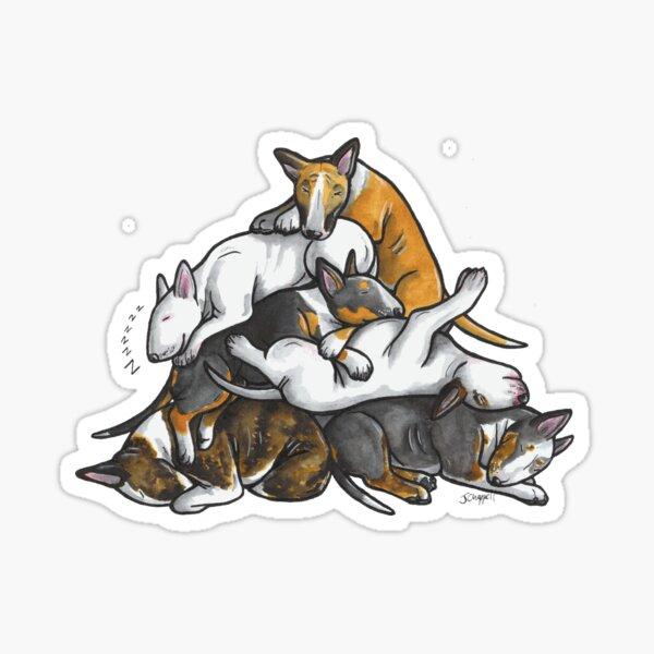 Pila dormida de bull terrier Pegatina