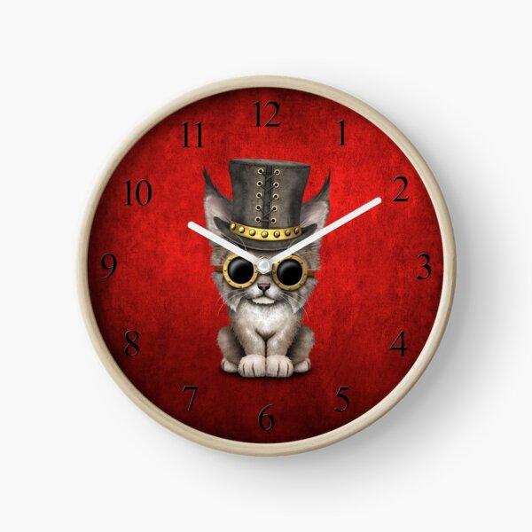 Steampunk bébé Lynx Cub sur rouge Horloge
