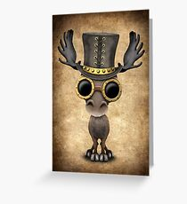 Steampunk Baby Moose  Greeting Card