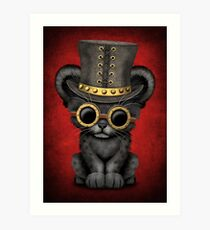 Steampunk Black Panther Cub on Red Art Print