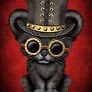 Steampunk Black Panther Cub auf Rot von jeff bartels