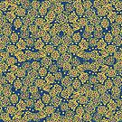 Spring Blossom, ultramarine and yellow, floral pattern by clipsocallipso